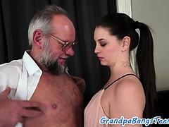 Teenie babe creampied by grandpa
