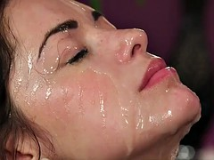 Lingeried wife facialized in front of cuckold