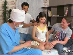 Dude assists with hymen physical and pounding of virgin chick