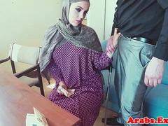 Stunning arabic babe fucked for money