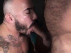 Raw fucked nipple pierced bear jerks off cum