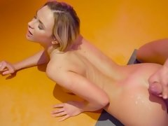 Beautiful babe is fond of anal drilling so enjoys it