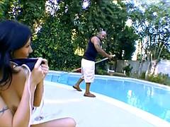 Pool Slut loves Double creampie