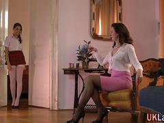 Lesbienne, Masturbation, Mature, Adolescente, Uniforme