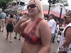 Kinky sluts get naked in public