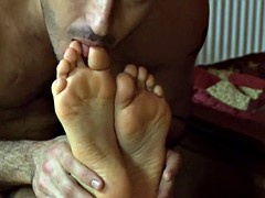 Beautiful babe feetworshiped by her lover
