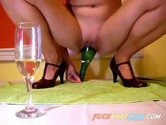 Hardcore cambitch champagne bottle pussy insertion