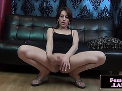 Solo amateur femboy gives solo jerking show