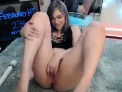 Horny babe easy orgasm masturbate on webcam