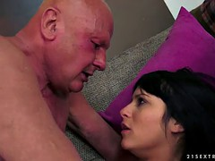 grandpa screwing a gorgeous brunette babe doggystyle