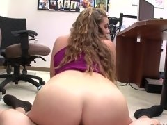A hardcore video features a hot brunette with a juicy round ass