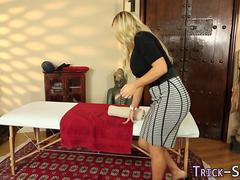 Busty blond rides masseur