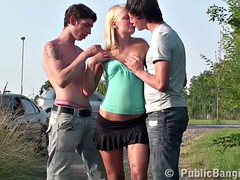 Blonde teen girl PUBLIC street threesome gangbang sex