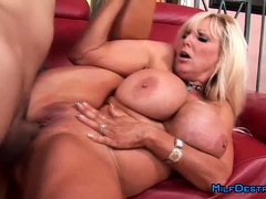 iAmPorn - Huge boobed blonde MILF fucks on couch