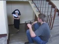 Nun Irina with a pair of guys