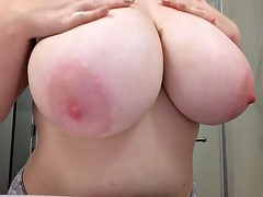 Rubbing Cream on Fat Tits