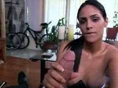 Freaky Latina bitch sucks a fine meat pole and gets rammed hard