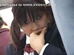 Japanese schoolgirl gets groped and plus fucked by a stranger on the bus