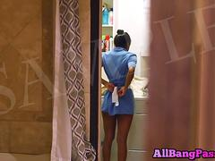 Hot Latina Housemaid Teases While Cleaning