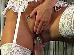 Danish slut caught playing while watching porn - Nikki Dane