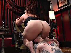 bbw mimosa facesits tattooed dude and impales his ass with a strapon