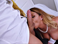 busty bride brooklyn chase sucks cock before wedding