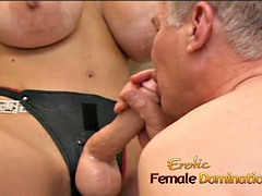 busty wench coated latex fucks a hot bolt with a strap-on