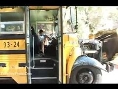 Sexy bus driver seducing school boy