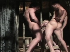 Blondie anal slave in a cage