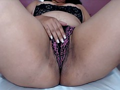 Rubbing Hairy Pussy Thru Panties