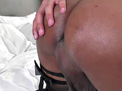trans meen fucks her tight ass using a toy while jerking her shecock