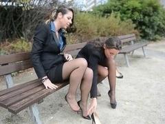 2 immature sexy secretaries in vintage stockings And plus garterbelt
