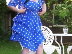 British Housewife Playing Outside