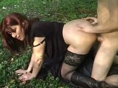 Soccer mom fucked in forest by youthful guy