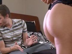 A brunette that has a hairy pussy is getting pounded really hard