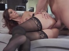 Pornactress Syren De Mer welcomes strong lover in all her slits