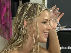 Sultry teenie is geeting peed on and squirts wet pussy