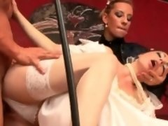 Staggered doll in lingerie is geeting peed on and nailed