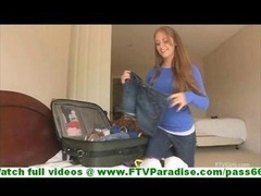 Kiear slutty brunette with natural breasts unclothing and moreover trying underwear while packing clothes