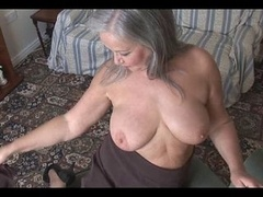 Attractive bigtitted granny striptease