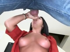 Dark haired babe with big boobies Adriana Lynn gets rammed hard