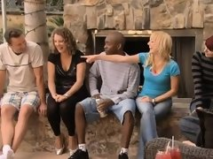 Rookie couple enjoys watching their first swinger orgy