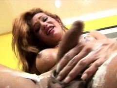 TS fucks her butt with shave creamed fingers while stroking