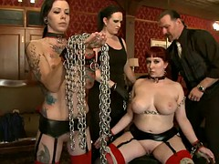 horny ladies are humiliated and pleased in bondage clip