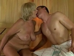 Grandma enjoys crazy sex in sauna