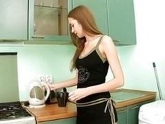 Needy teen Pussy On The Kitchen