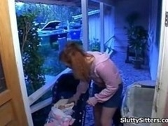 Redhead babysitter loves to get naughty