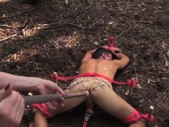 Femdom dildofucks submissive outdoors
