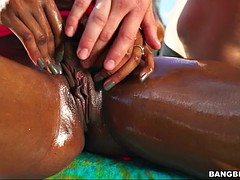 indigo vanity gets oiled up, clit rubbed and nipples sucked