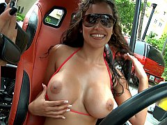 Riding in public with big naked tits